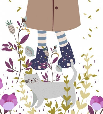 friendship background girl legs cat icons flowers decoration