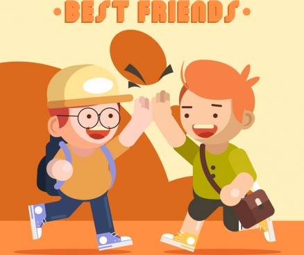 friendship background schoolboys icons cartoon characters