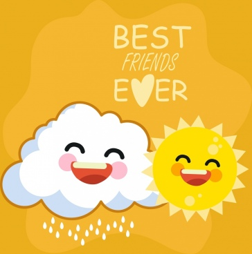 friendship banner stylized cloud sun icons cartoon design