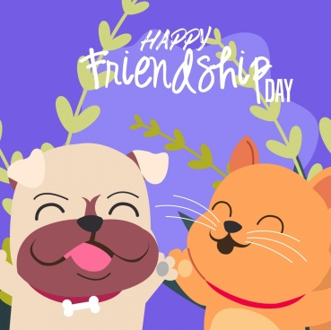 friendship day banner cute dog cat icons