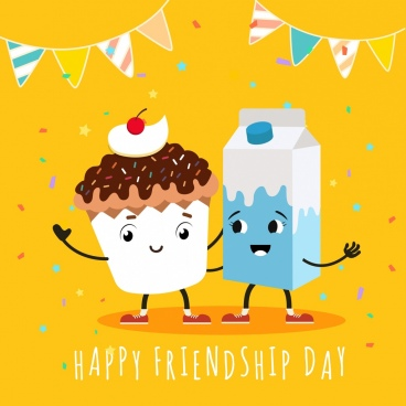 friendship day banner stylized cupcake milk icons decor