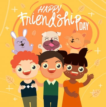 friendship day poster children pets icons cartoon design