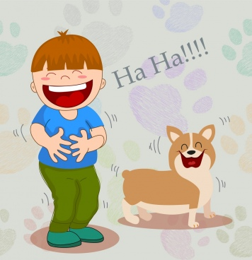 friendship drawing boy puppy icons funny cartoon design
