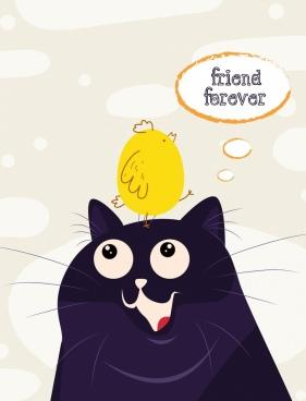 friendship drawing cat chick icon cute cartoon design