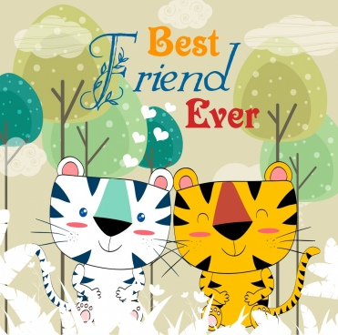 friendship drawing tigers icon colored handdrawn design