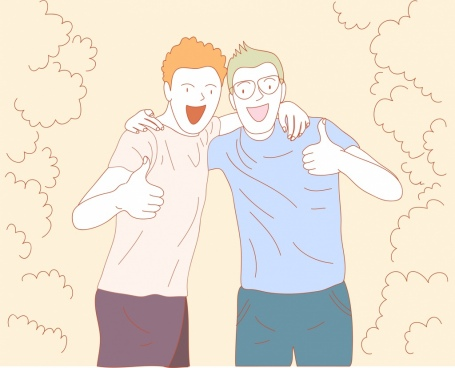 friendship painting joyful men icons handrawn sketch