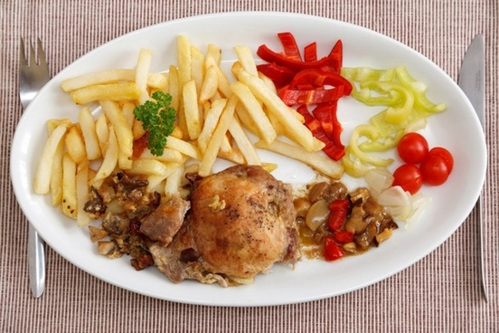 fries meat and vegetable