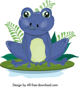 frog icon blue design cute cartoon character