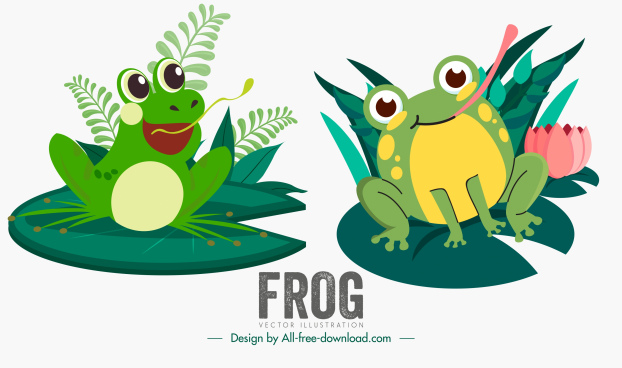 frog icons cute cartoon characters sketch