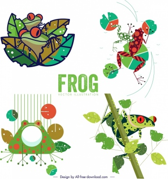 frog icons sets colorful classical sketch