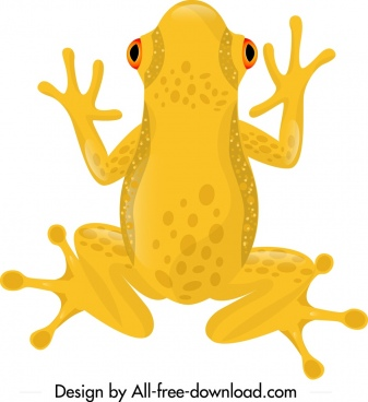 frog wild animal icon yellow design cartoon sketch