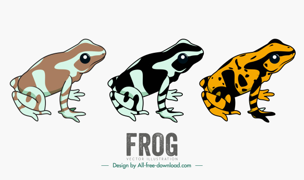frogs icons mockup sketch handdrawn classic
