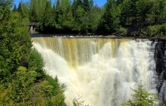 frontal view of the falls at kakabeka falls ontario canada