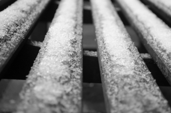 frozen snow on a bench