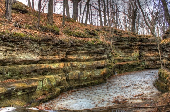 frozen stream at pewit039s nest natural area wisconsin