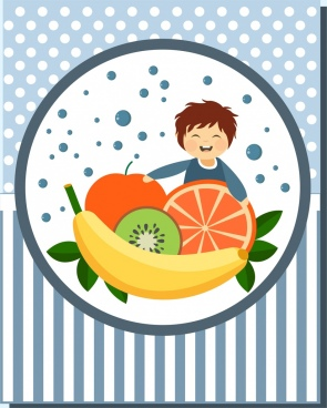 fruit advertisement colorful style tiny boy icon decoration