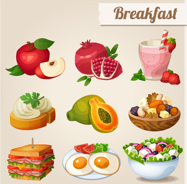 fruit and breakfast design vector icons