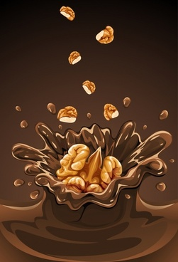 walnut milk advertising background 3d brown splashing design