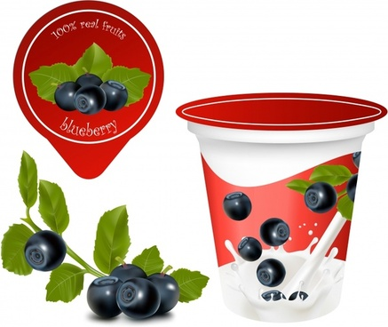 fruit yoghurt advertising blueberry milk icons realistic design