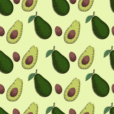 fruit background avocado icons colored repeating design