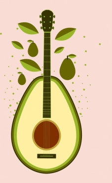 fruit background green avocado guitar icons