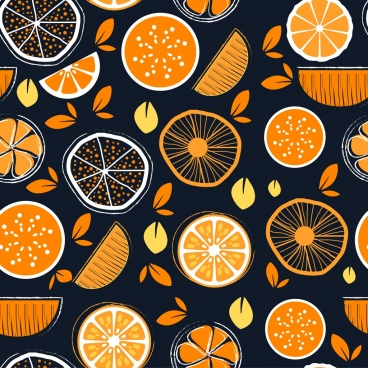 fruit background orange flat handdrawn sketch slices icon