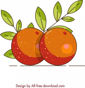 fruit background orange icon colored retro design