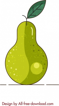 fruit background pear icon flat retro sketch