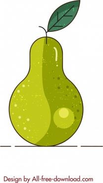 fruit background pear icon flat retro sketch