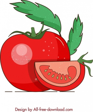 fruit background red tomato icon retro design