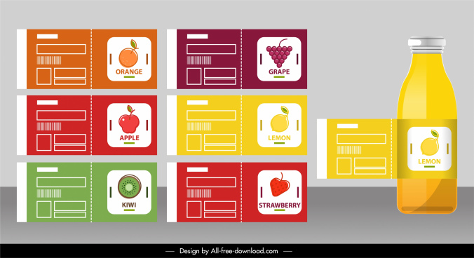 fruit badge templates modern colored flat decor