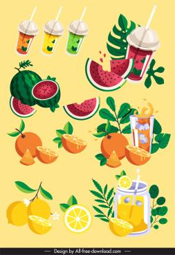 fruit beverages design elements colorful dynamic sketch
