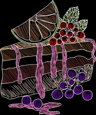 fruit cake background multicolored handdrawn sketch