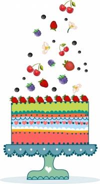 fruit cakes background falling icons colorful flat design