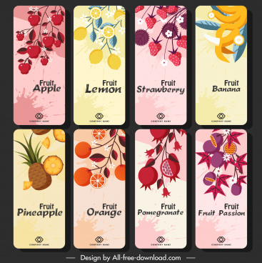 fruit cards templates colorful vertical classic grunge decor