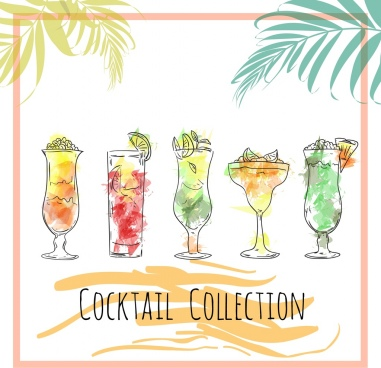 fruit cocktail advertising multicolored handdrawn sketch