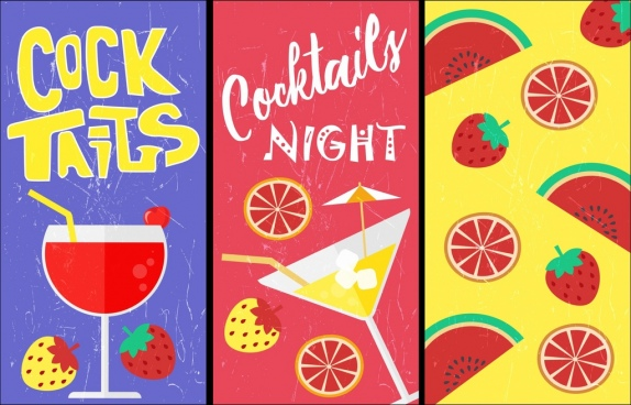 fruit cocktail banner sets multicolored flat decor