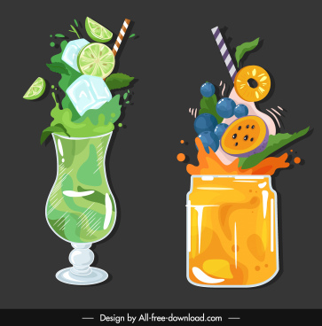 fruit cocktail icons colorful classic dynamic sketch