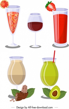 fruit cocktail icons pomelo strawberry avocado walnut decor