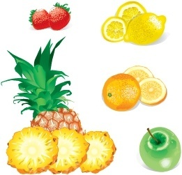 fruits icons strawberries lemons oranges apples pineapples design