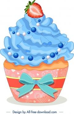 fruit cupcake icon modern colorful closeup design