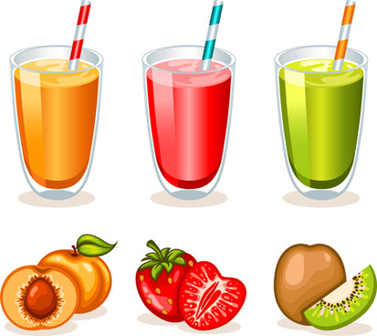 fruit drinks food vector graphic set