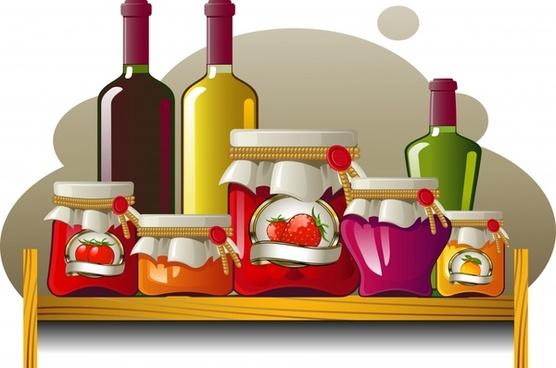 fruit flavored accessories wine bottle vector