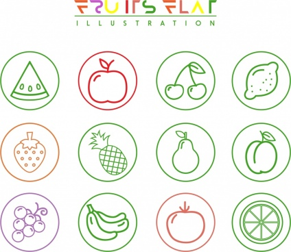 fruit icons isolation various flat symbols sketch