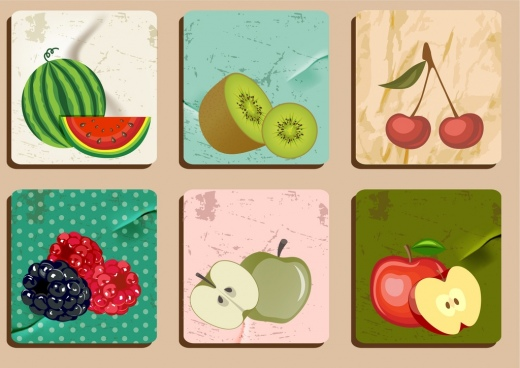fruit icons sets retro colored design