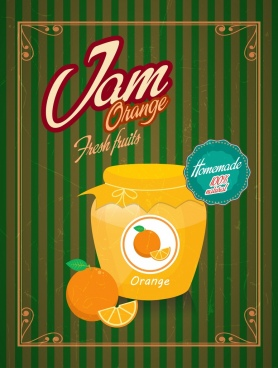 fruit jam advertising retro design yellow jar icon
