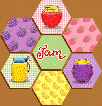 fruit jam background polygon decor various multicolored design