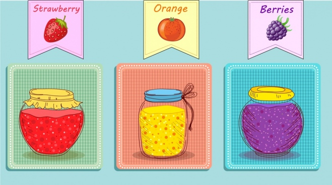fruit jam icons jar icons colored handdrawn design