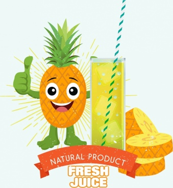 fruit juice advertisement pineapple icon colored stylized design