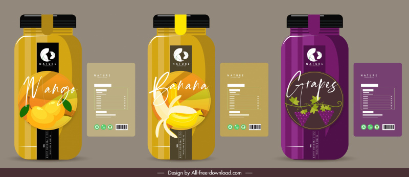 fruit juice bottle templates dark colored flat decor